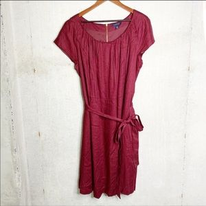 Lands' End maroon fit and flare dress size 20w